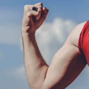 Man showing arm muscle